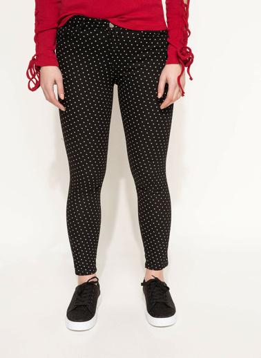 DeFacto Puantiye Desenli Pantolon Siyah